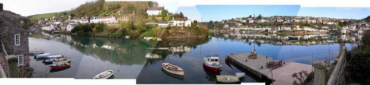 Panoramic view of the villages of Noss Mayo  and Newton  Ferrers